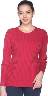 CLUB YORK Self Design Round Neck Casual Women's Pink Sweater
