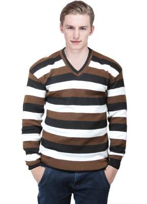 BrandTrendz Striped V-neck Casual Men's Brown Sweater