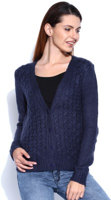 Mast & Harbour Self Design V-neck Casual Women,s Dark Blue Sweater