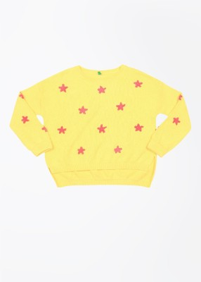 United Colors of Benetton Solid Round Neck Casual Girls Yellow Sweater