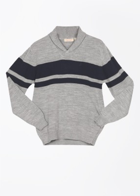 John Players Striped Casual Men's Grey, Blue Sweater