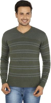 Fizzaro Striped V-neck Casual Men's Green, Grey Sweater