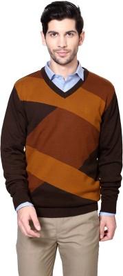 Van Heusen Solid V-neck Men's Brown Sweater