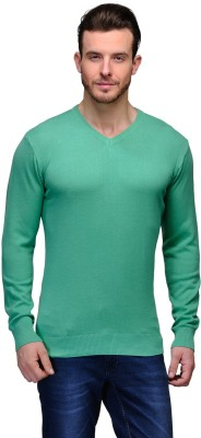 Tailor Craft Solid V-neck Casual Men's Light Green Sweater