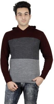 Numero Uno Striped Round Neck Casual Men's Maroon, Grey Sweater
