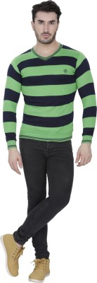 Alay Striped V-neck Casual, Party, Formal, Sports, Festive, Lounge Wear Men's Dark Green Sweater
