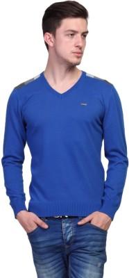 TSAVO Solid, Applique V-neck Casual Men's Blue Sweater