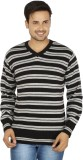 Fizzaro Striped V-neck Casual Men Black,...