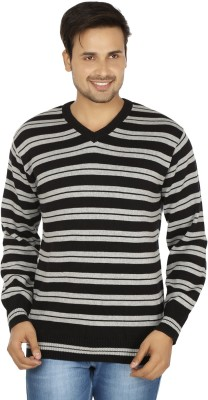 Fizzaro Striped V-neck Casual Men's Black, Grey Sweater