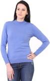 Kalt Solid Turtle Neck Casual Women Blue...