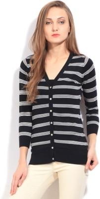 Arrow Striped Casual Women's Black Sweater