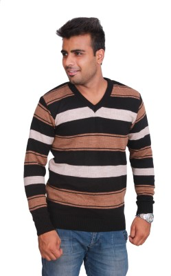 Marino Club Self Design V-neck Men's Black Sweater