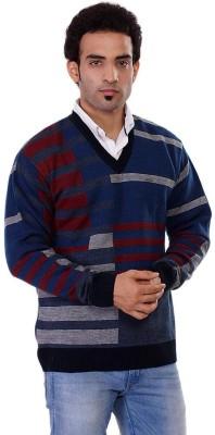 Pierre Carlo Striped V-neck Casual Men's Dark Blue Sweater