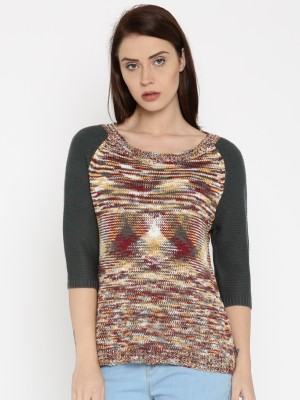 Roadster Self Design Round Neck Casual Women Grey, Brown Sweater at flipkart