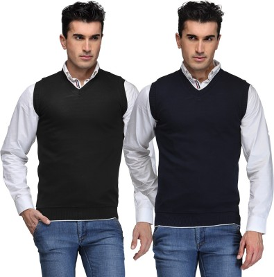 TSX Solid V-neck Casual, Party, Formal Men's Black, Blue Sweater