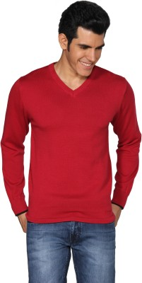Provogue Solid V-neck Casual Men's Red Sweater