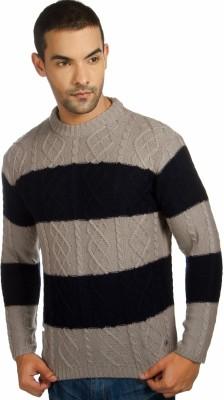 Provogue Self Design Round Neck Casual Men's Brown Sweater