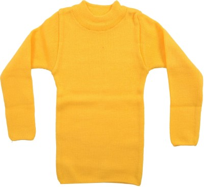 AKHIL & AARNA Solid Round Neck Baby Boy's Yellow Sweater