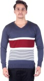 Numalo Striped V-neck Casual Men Blue, M...