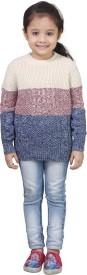Crazeis Printed Round Neck Casual Girls Pink, Grey Sweater