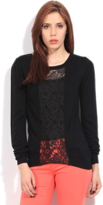 United Colors of Benetton Self Design Round Neck Casual Women's Black Sweater