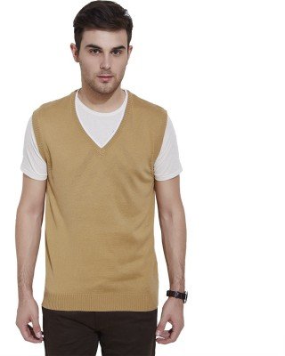 Urban Nomad By INMARK Solid V-neck Casual Men's Beige Sweater