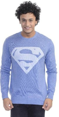 Superman Printed Round Neck Casual Men's Blue Sweater