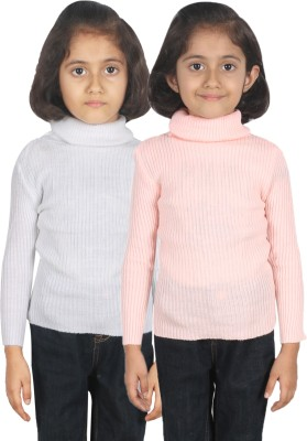 Gungun Fashion Woven Turtle Neck Casual Baby Girl's White, Pink Sweater