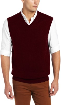 Being Fab Solid V-neck Casual Men's Maroon Sweater