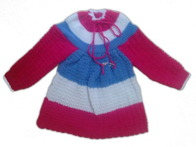 BebzCozzy Woven Round Neck Girl's Multicolor Sweater
