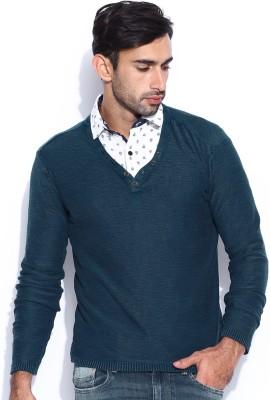 HRX by Hrithik Roshan Solid V-neck Casual Men's Blue Sweater