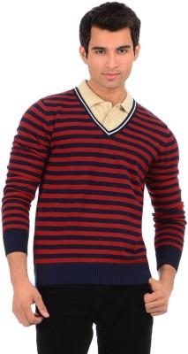 Sher Singh Striped V-neck Casual Men,s Dark Blue, Red Sweater