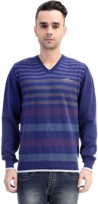 CLUB AVIS USA Striped V-neck Casual Men's Dark Blue Sweater