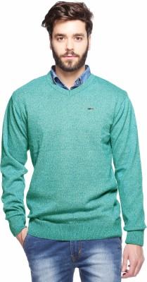 Aeroglide Self Design V-neck Casual Men's Green Sweater
