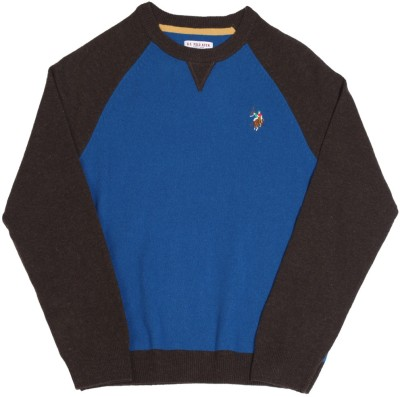 U S POLO KIDS Solid Round Neck Casual Boys Blue, Brown Sweater