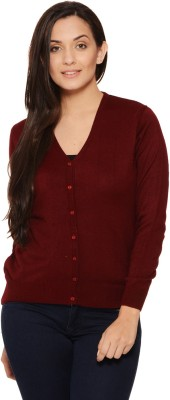 Fugue Solid V-neck Casual Women's Red Sweater
