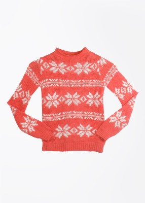United Colors of Benetton Printed Round Neck Casual Girls Red Sweater