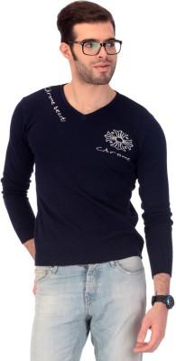 Claude 9 Solid V-neck Men's Blue Sweater