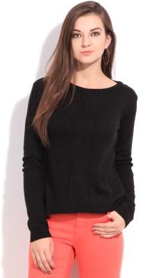 Elle Solid Casual Women's Black Sweater