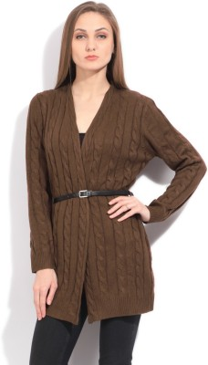 Elle Self Design Casual Women's Brown Sweater