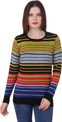 Spink Striped Round Neck Casual Women's Multicolor Sweater