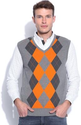 Harvard Self Design Round Neck Men's Grey Sweater