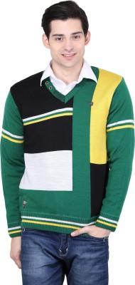 BRAVEZI Geometric Print V-neck Casual Men,s Green, Black, Multicolor Sweater