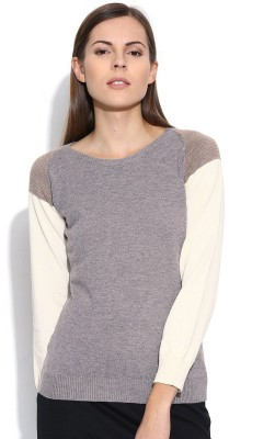 Silly People Solid Round Neck Casual Women's Grey Sweater