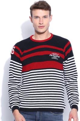 Harvard Striped Round Neck Men's Dark Blue Sweater