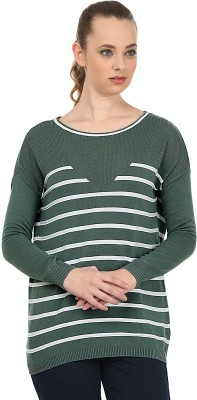 United Colors of Benetton Striped Round Neck Casual Women's Green, White Sweater