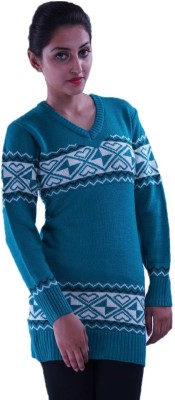 Pazaro Solid V-neck Casual Women's Blue Sweater