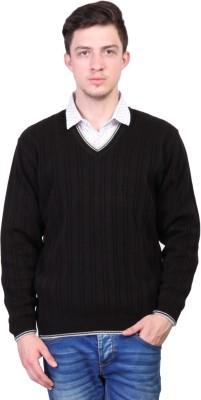 Priknit Self Design V-neck Casual Men's Black Sweater