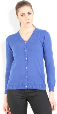 Wrangler Solid V-neck Casual, Party Women's Blue Sweater