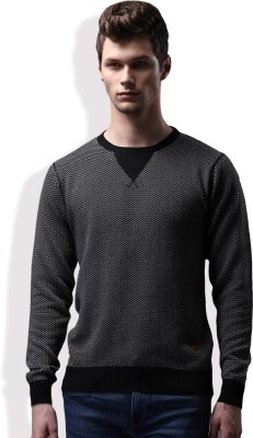 WROGN Self Design Round Neck Casual Men Black, White Sweater